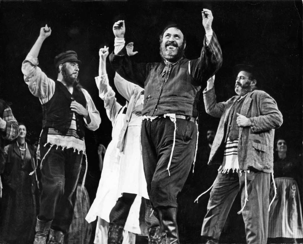 """Zero Mostel (center) dances the role of Tevye along with other cast members in """"Fiddler on the Roof."""""""