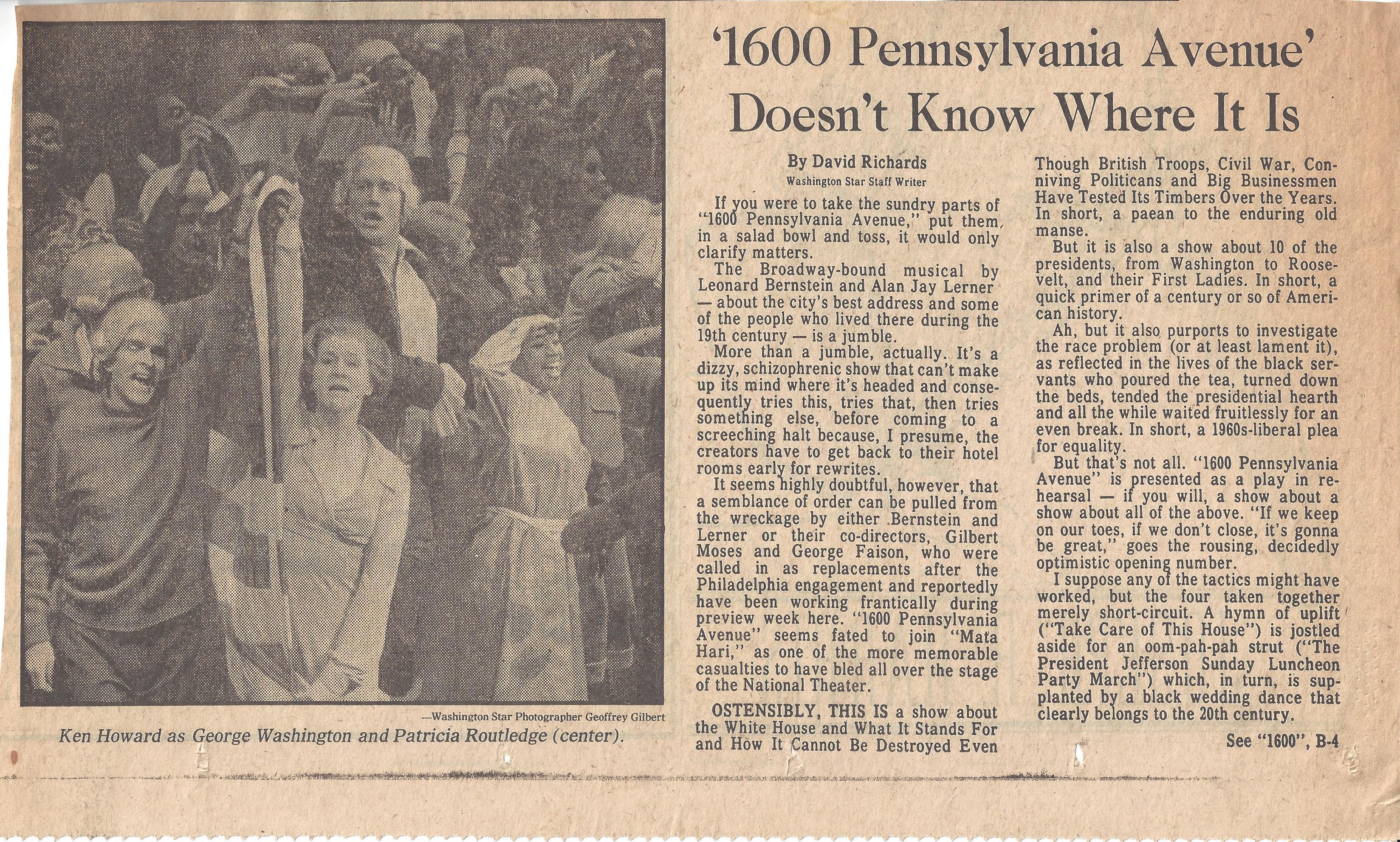 """A newspaper review of """"1600 Pennsylvania Avenue"""""""